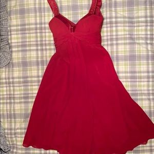 David' Bridal Size 4 Red with Sequined Straps